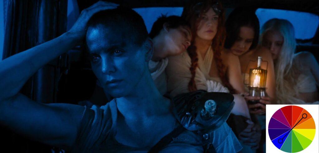 Cena do filme Mad Max, Estrada de Fúria, de 2015, com o tom azul destacando a Frieza e solidão do personagens em cena. Dentro de um veículo, estão a atriz Charlize Theron e mais 3 personagens. Em primeiro plano, a esquerda, Charlize é retratada na cor azul. Ao fundo, há 3 moças abraçadas, que estão destacadas em laranja.